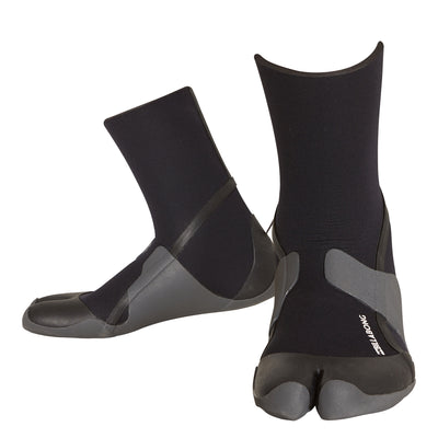 Billabong split-toe surf booties with 3mm neoprene and a thin textured sole.
