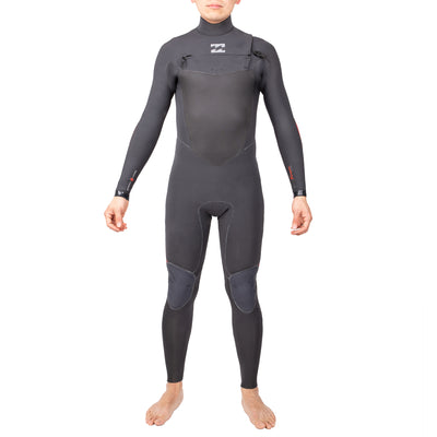 A graphite gray wetsuit with red lining and 4/3mm neoprene.