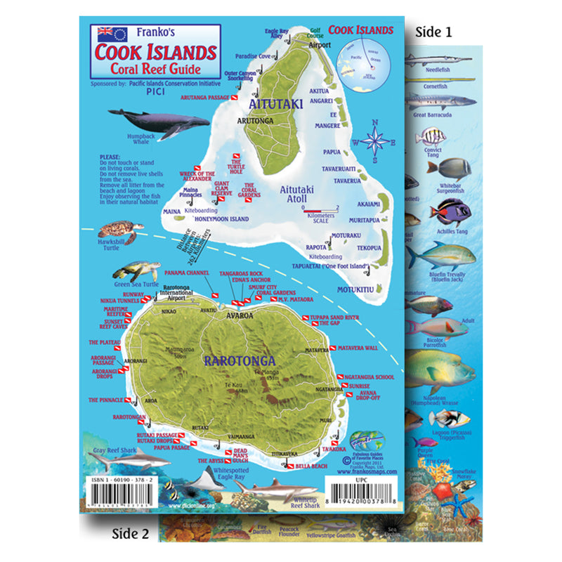 Franko Maps Cook Islands Reef Dive Creature Guide 5.5 X 8.5 Inch