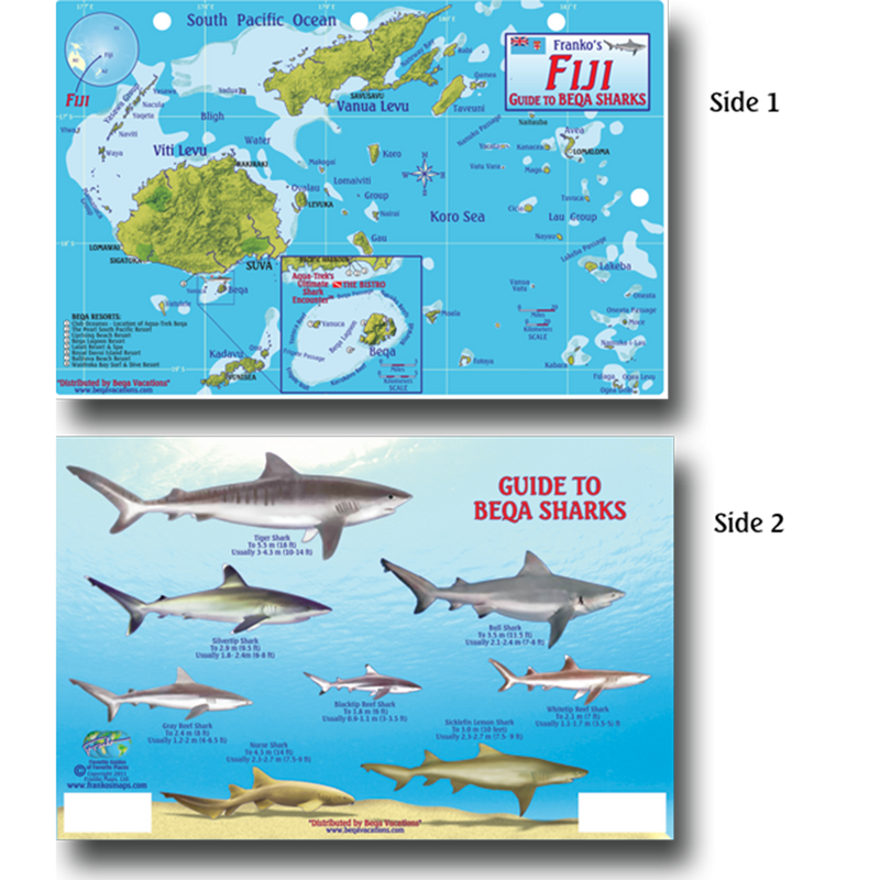 Franko Maps Fiji Sharks Rays Creature Guide 5.5 X 8.5 Inch