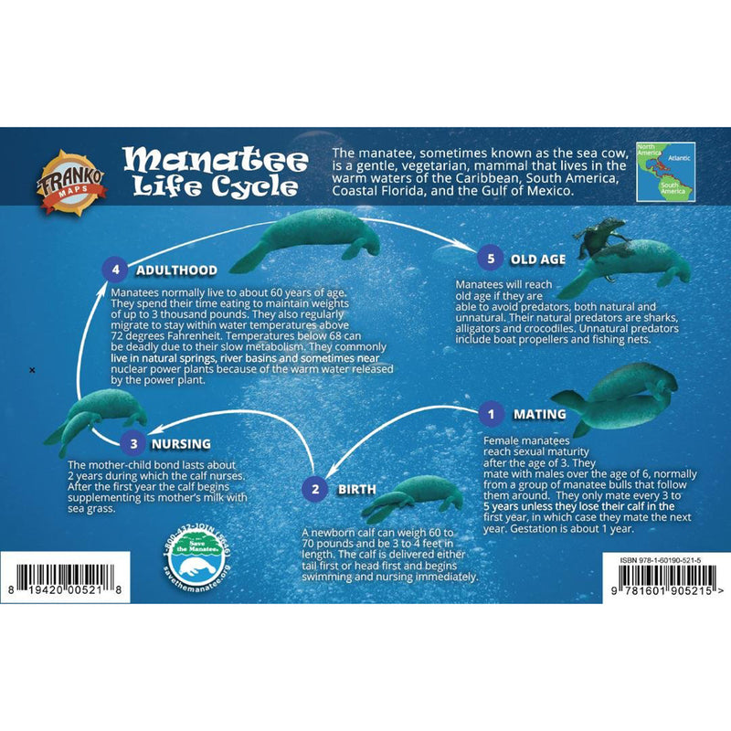 Franko Maps Manatee Life Cycle Guide 5.5 X 8.5 Inch