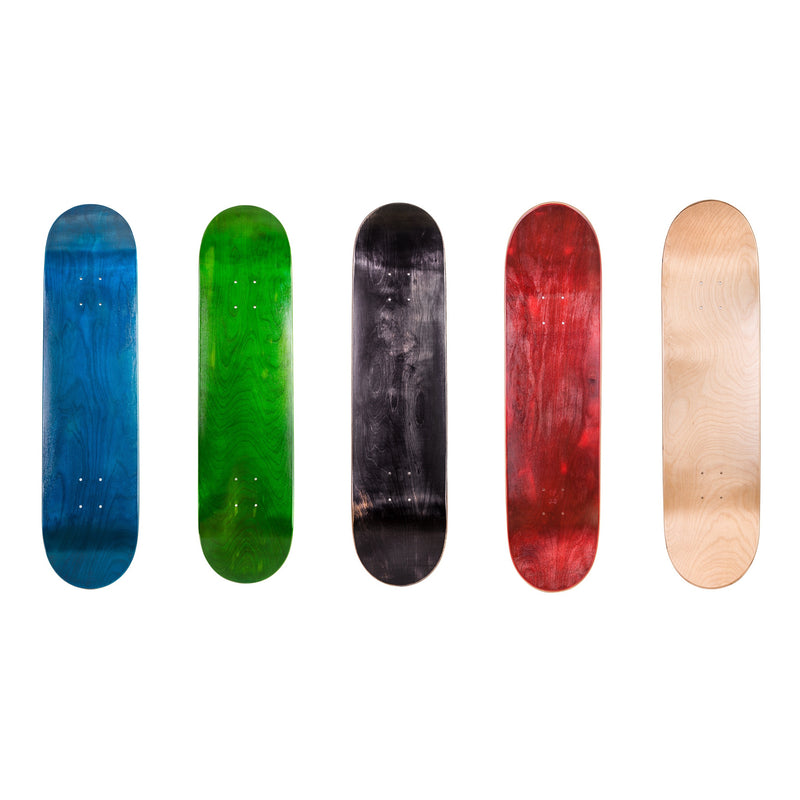 "Cal 7 Blank Maple Skateboard Deck 7.75"", 8.0"", 8.25""-Blue, Green, Black, Red, Natural"