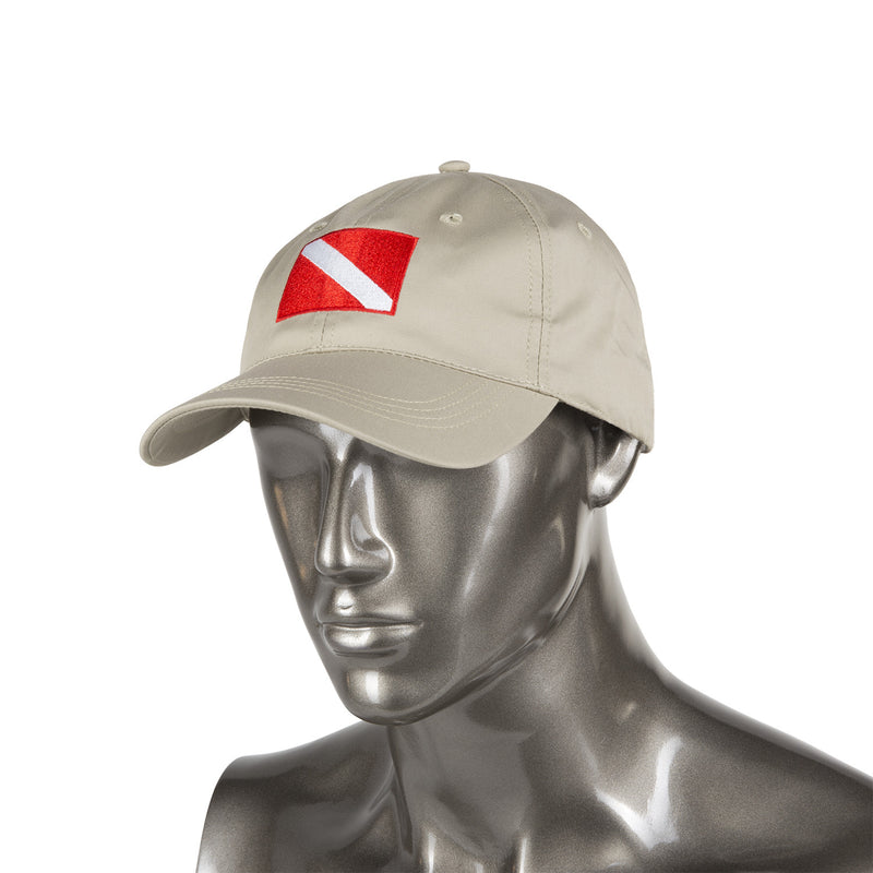 Trident Tan Baseball Cap with Embroidered Diver Down Flag