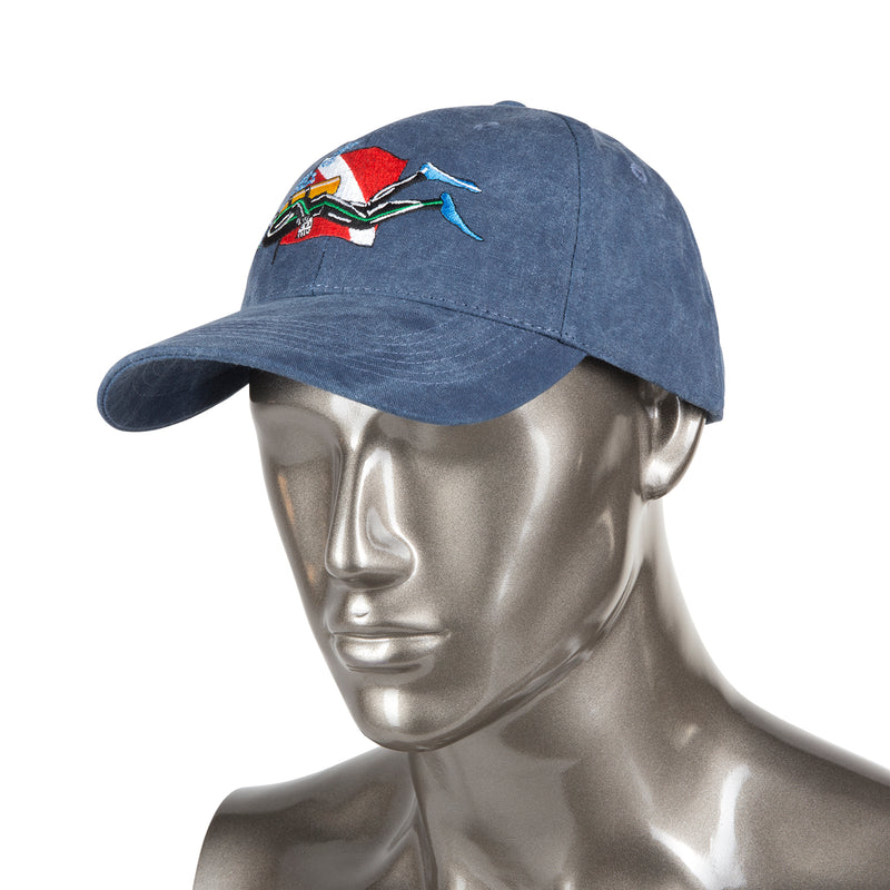 Trident Blue Denim Baseball Cap with Embroidered SCUBA Diver