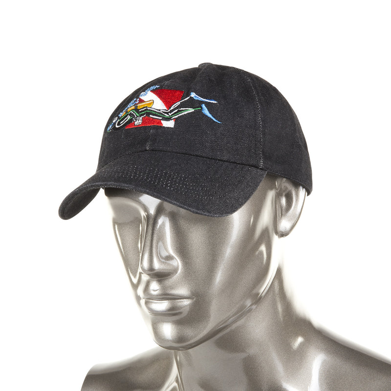 Trident Black Denim Baseball Cap with Embroidered SCUBA Diver