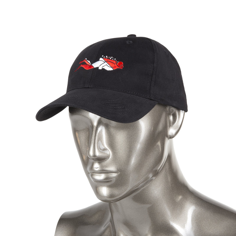 Trident Black Cotton Baseball Cap with Embroidered SCUBA Diver