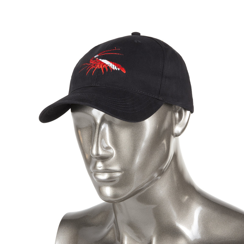 Trident Black Cotton Baseball Cap with Embroidered Lobster