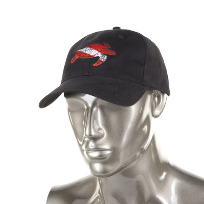 Trident Black Cotton Baseball Cap with Embroidered Sea Turtle