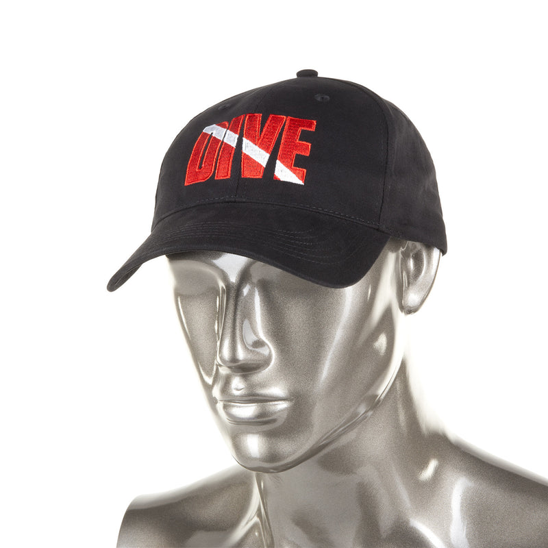 Trident Black Cotton Baseball Cap with Embroidered DIVE Detail
