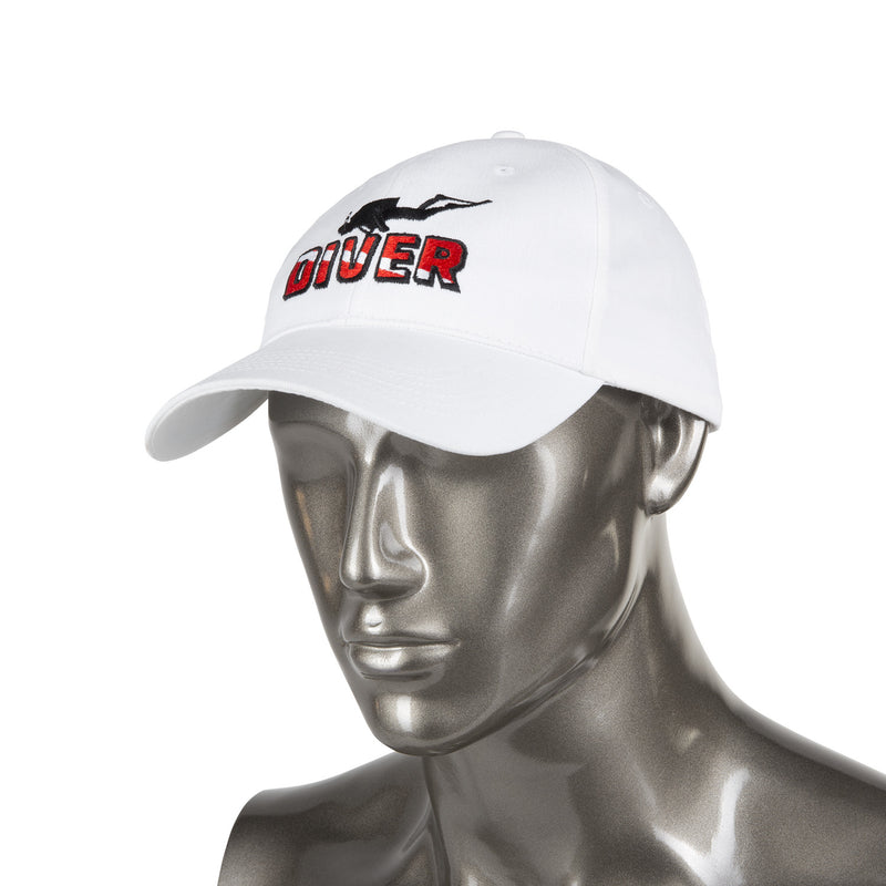 Trident White Cotton Baseball Cap with Embroidered DIVER Design