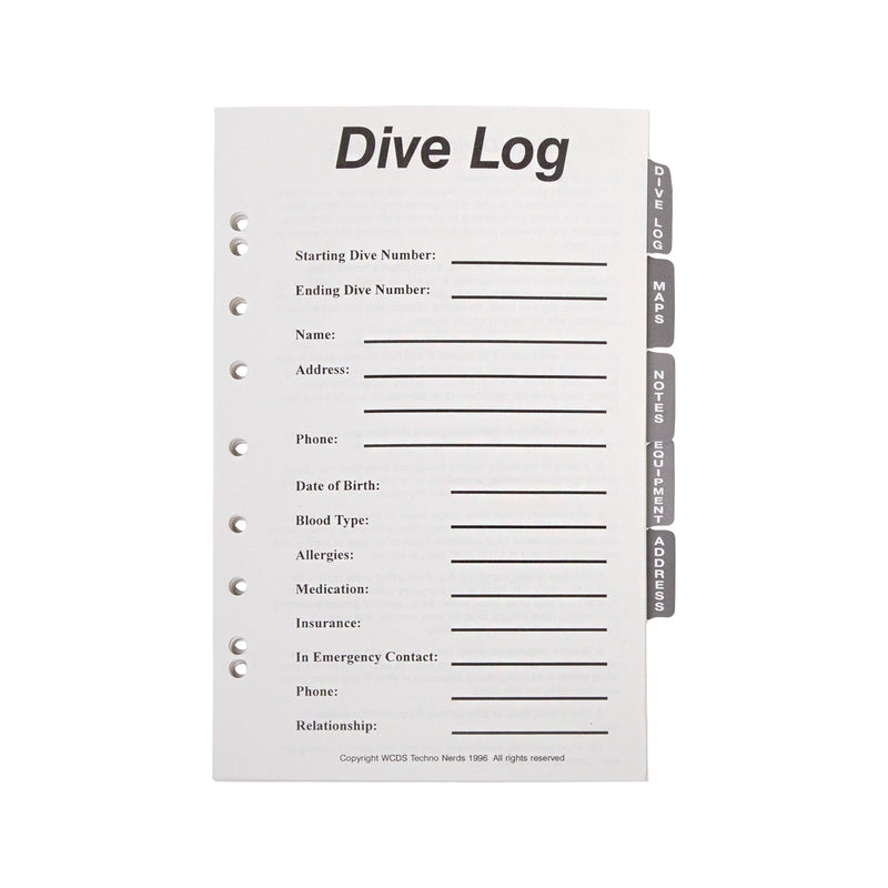 Tabbed Set Refill For Trident GB01 6-Ring Dive Log Binder
