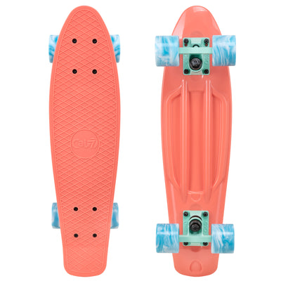 "Cal 7 Melrose 22.5"" Mini Cruiser with Swirl Wheels - featuring a coral plastic deck, 78A blue and white swirl wheels."