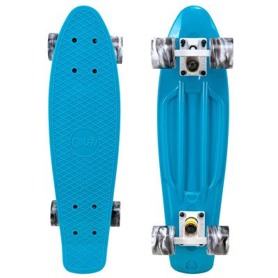 "Cal 7 Oceanic 22.5"" Mini Cruiser with Swirl Wheels - featuring a muted blue plastic deck, 78A blue and light pink swirl wheels."