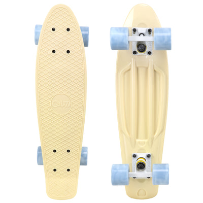 "Cal 7 Snowdrop 22.5"" Mini Cruiser with Swirl Wheels - featuring pastel yellow plastic deck, 78A grey swirl wheels."
