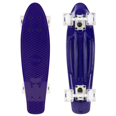 22-inch dark purple mini cruiser with white trucks and clear wheels with a light purple core