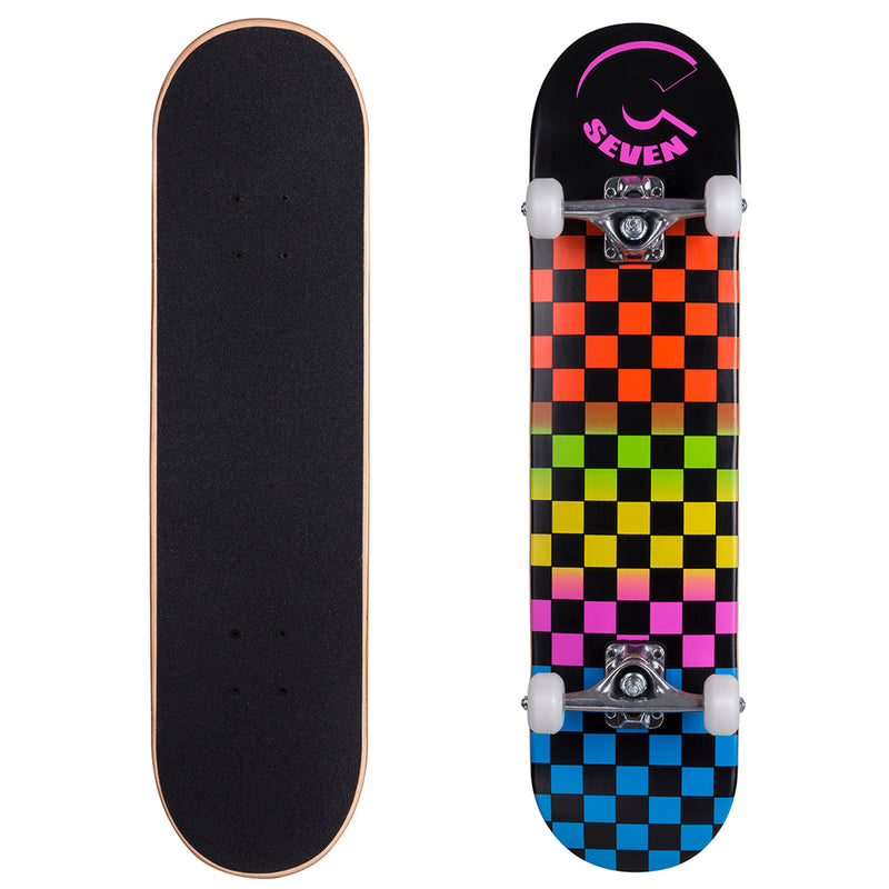 Cal 7 Rainbow Checkered Popsicle Double Kicktail Complete Skateboard