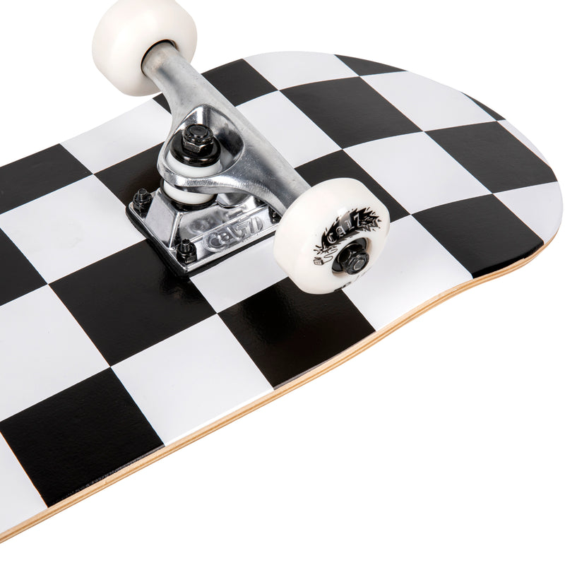 Cal 7 Checkmate Complete 7.5/7.75/8-Inch Skateboard a Black and White Checkered Design