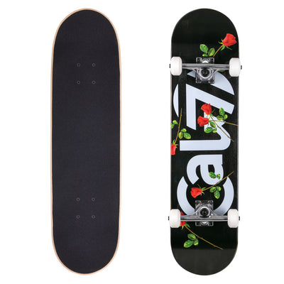 Cal 7 complete 8-inch skateboard with black fallout graphic with red roses
