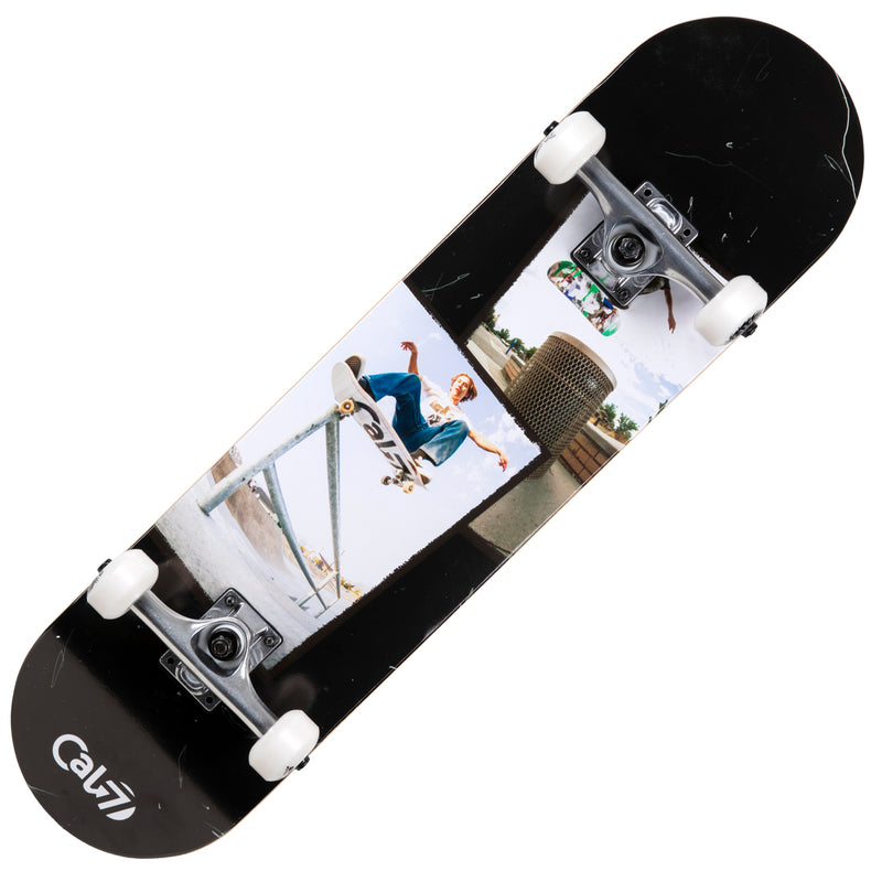 Cal 7 Perspective Complete 7.5/7.75/8-Inch Skateboard with Skateboarding Photographs and Distressed Black Design
