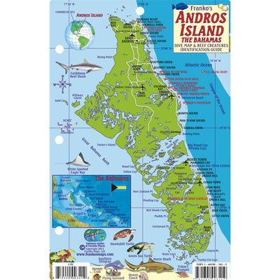 Franko Maps Andros Island Bahamas Dive Creature Guide 5.5 X 8.5 Inch