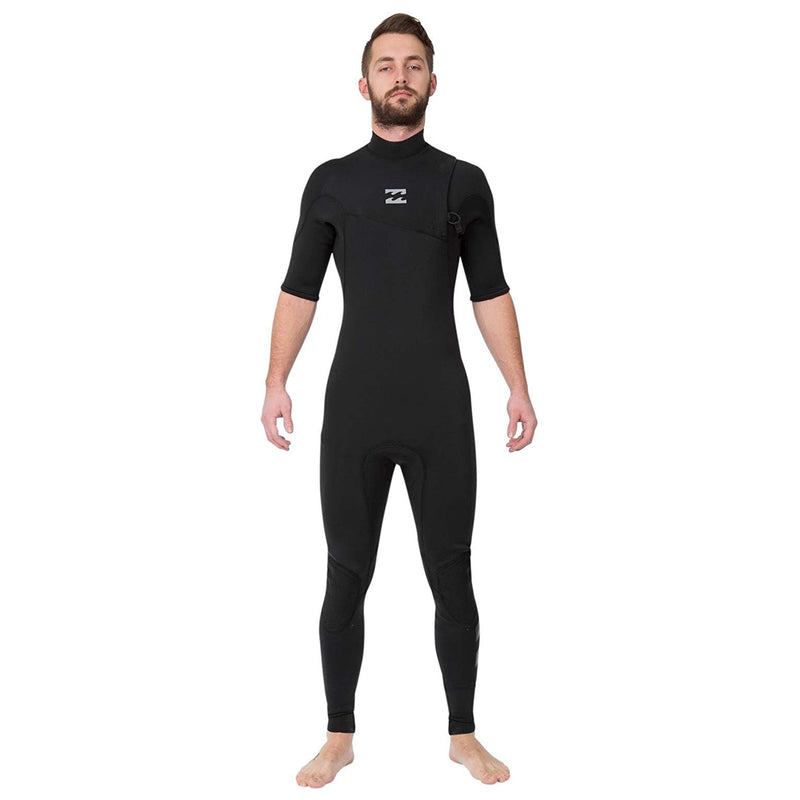 A graphite black Billabong wetsuit with 3/2mm neoprene in a fullsuit fit with a chest zipper entry.