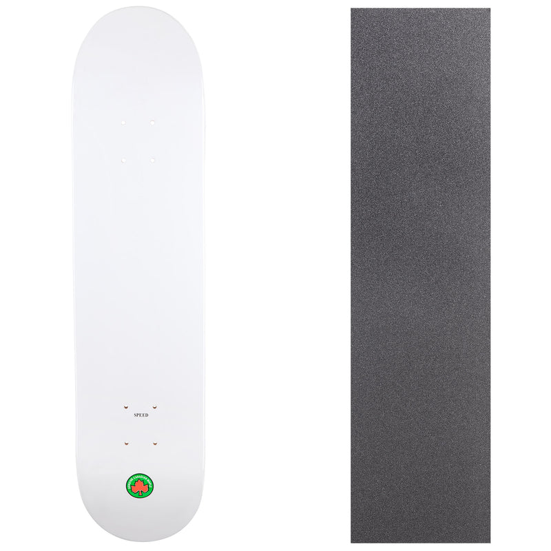 Blank Speed Canadian Maple Deck with Griptape - White