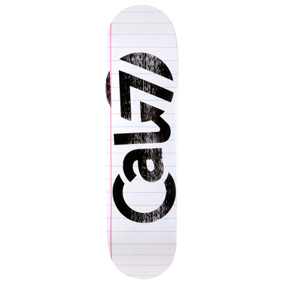 8.5-inch Cal 7 skateboard deck with lined paper sketch graphic