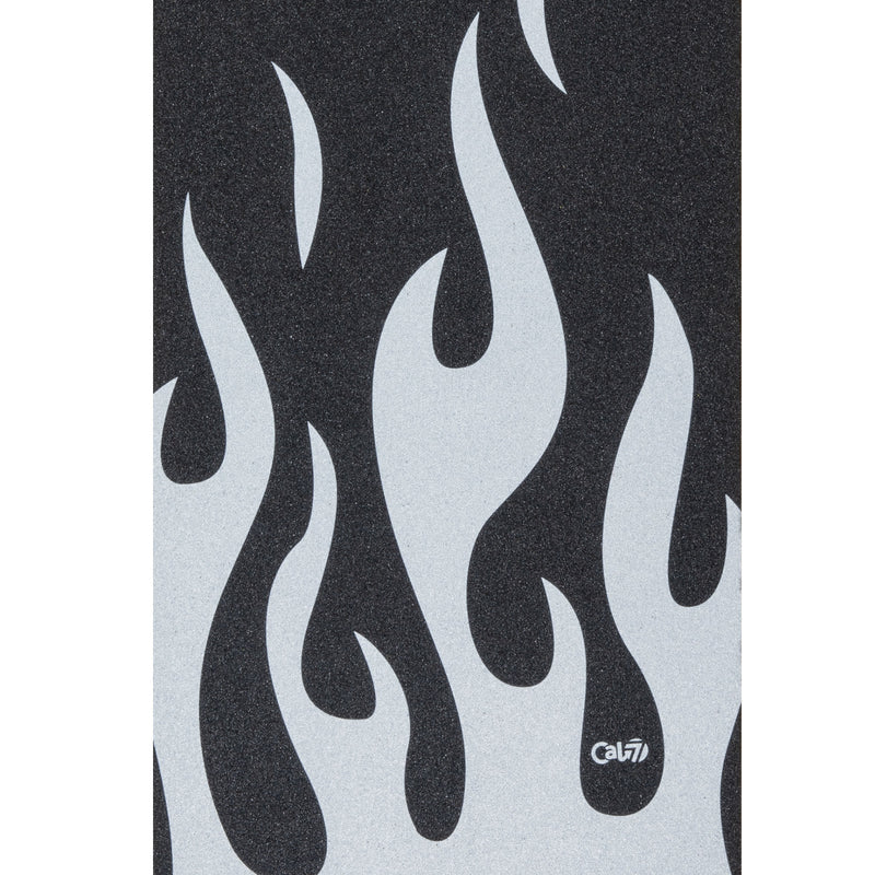 Cal 7 skateboard griptape with flames design