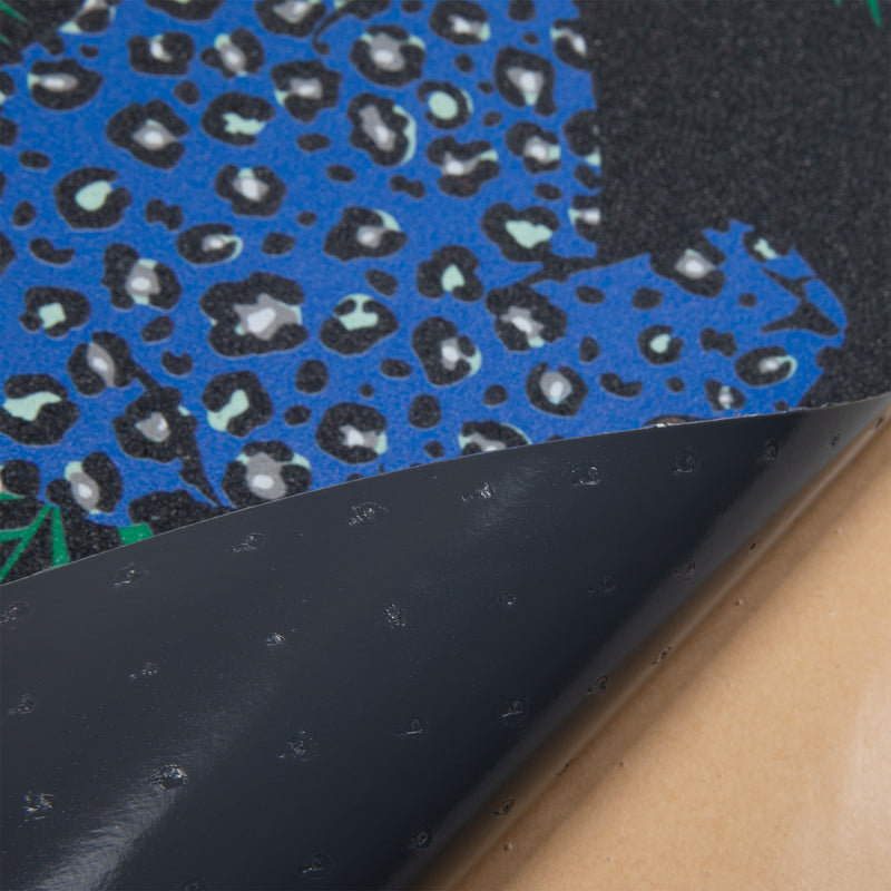 Cal 7 black skateboard griptape with leopard design