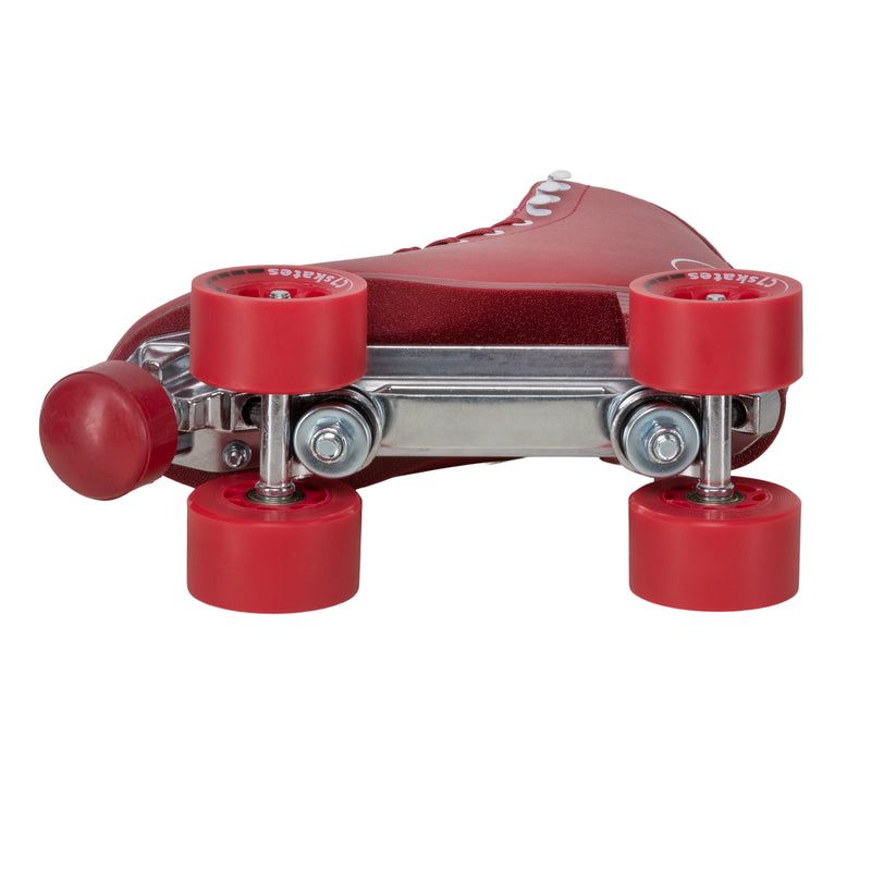 C7skates Cherrypop Quad Roller Skates in a deep red retro structured boot with 62mm wheels and 1-inch heel.