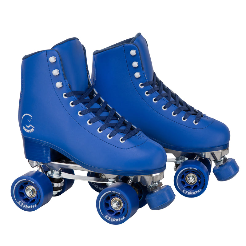 C7skates Midsummer's Eve Quad Roller Skates in a blue vegan leather structured boot and 62mm wheels.