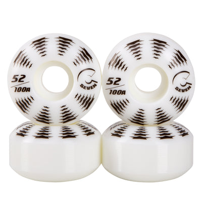 Cal 7 Catch-22 Skateboard Wheels, 52mm & 100A, Black & White Design (All-Star)