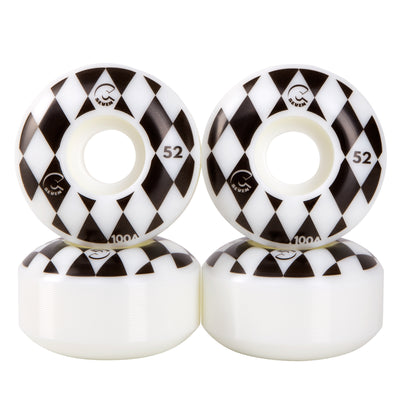 Cal 7 Catch-22 Skateboard Wheels, 52mm & 100A, Black & White Design (Speedway)