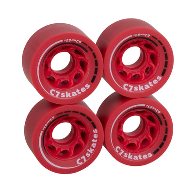 C7skates Cherrypop dark red 62mm roller skate wheels made from durable 83A polyurethane