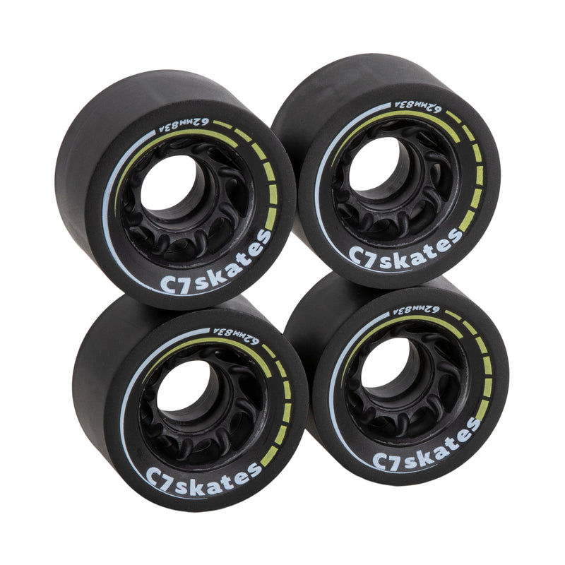 C7skates Queen Bee black with yellow print roller skate 62mm wheels made from durable 83A polyurethane