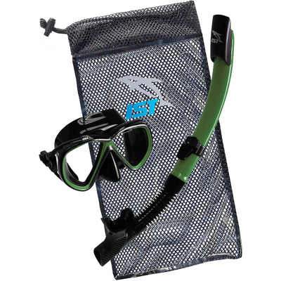 IST CS01 Snorkeling Combo Set: Mask, Semi-Dry Snorkel, Mesh Travel Bag