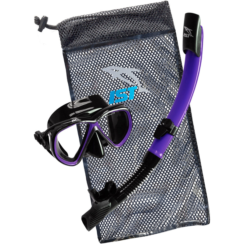 IST CSJ01 Snorkeling Kids Combo Set: Mask, Semi-Dry Snorkel, Mesh Travel Bag