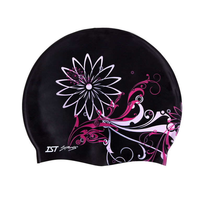 IST CSC201 Floral Printed Silicone Swimming Cap for Adults