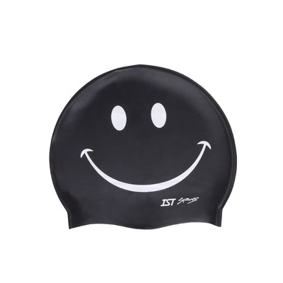 IST Smiley Face Printed Silicone Swimming Cap for Adults