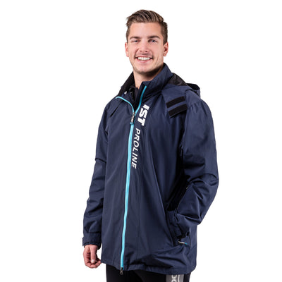 navy blue boat jacket with a detachable neoprene vest