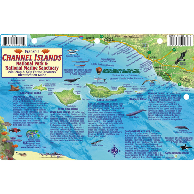 Franko Maps Channel Islands Creature Guide 5.5 X 8.5 Inch