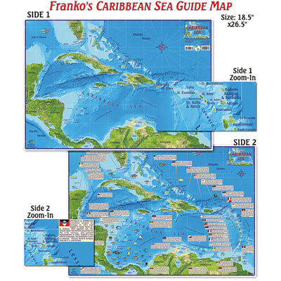 Franko Maps Caribbean Sea Creature Guide 18.5 X 26 Inch