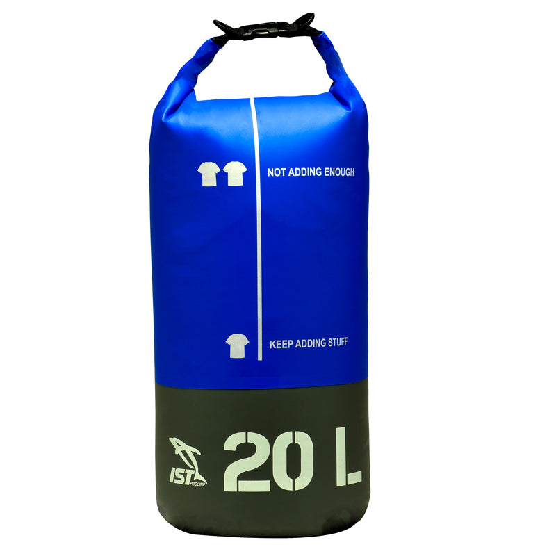 blue dry bag with 10 liter capacity and a crossbody strap for carrying