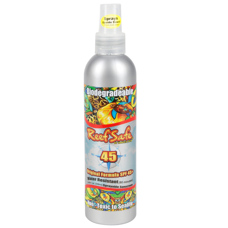 Reef Safe™ Water Resistant Biodegradable SPF 45+ Sunblock Pump Spray