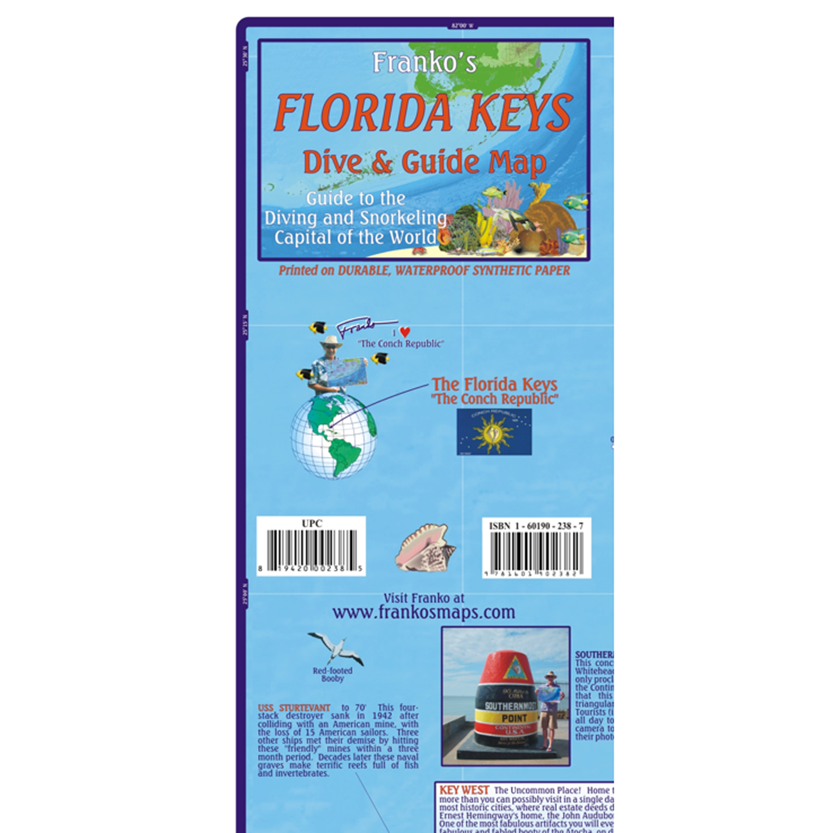 Florida Keys Maps.Franko Maps Florida Keys Dive Creature Adventure Guide 18 X 26 Inch