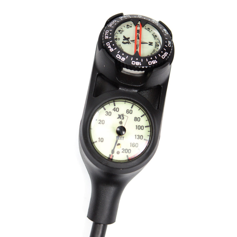 XS SCUBA Navigator Console 3 Gauge 0 To 5000 PSI 200 Ft Max Compass
