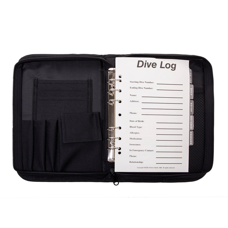 6-Ring, Zippered, Canvas Dive Log Book / Organizer, Diver