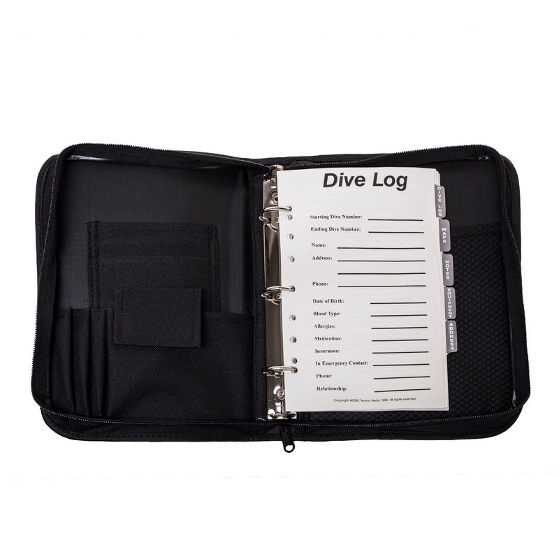 3-Ring, Zippered, Canvas Dive Log Book / Organizer, Black