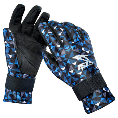 blue geometric scuba diving gloves with removable fingertips for underwater photography