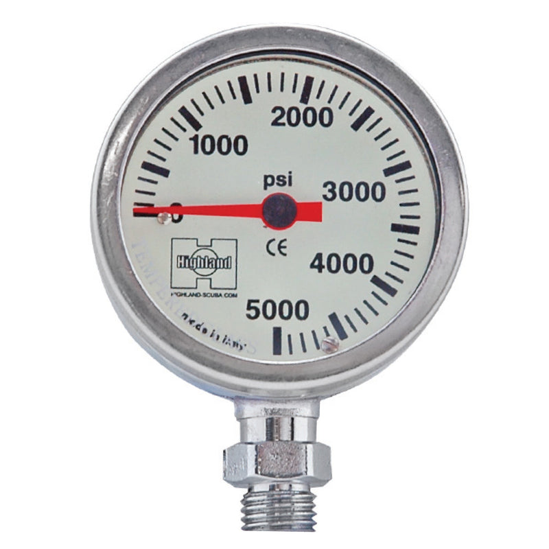 XS SCUBA Highland Pressure Gauge 2 Inch PSI Bar Brass Tempered Glass